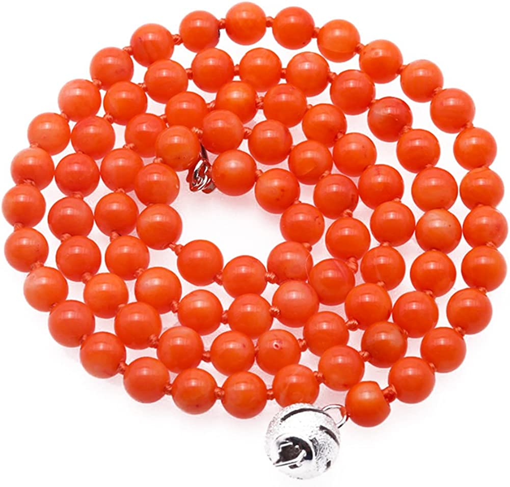jyx 5 mm redondo naranja Coral collar largo de cuentas Strand 18