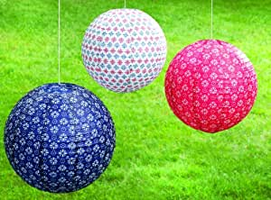 Tag Paper Lanterns, Round, Americana Red White and Blue Patterns, Set of 3, Assorted Sizes