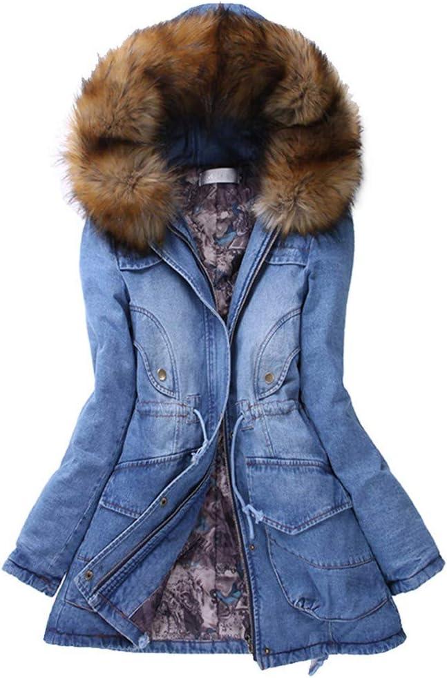 ZODOF abrigos vaquero mujer Invierno Abrigo Casual Sudadera con Capucha Algodón Chaqueta Larga Gruesa Cálida Rebajas Talla Grande Capa Jacket Parka Pullover