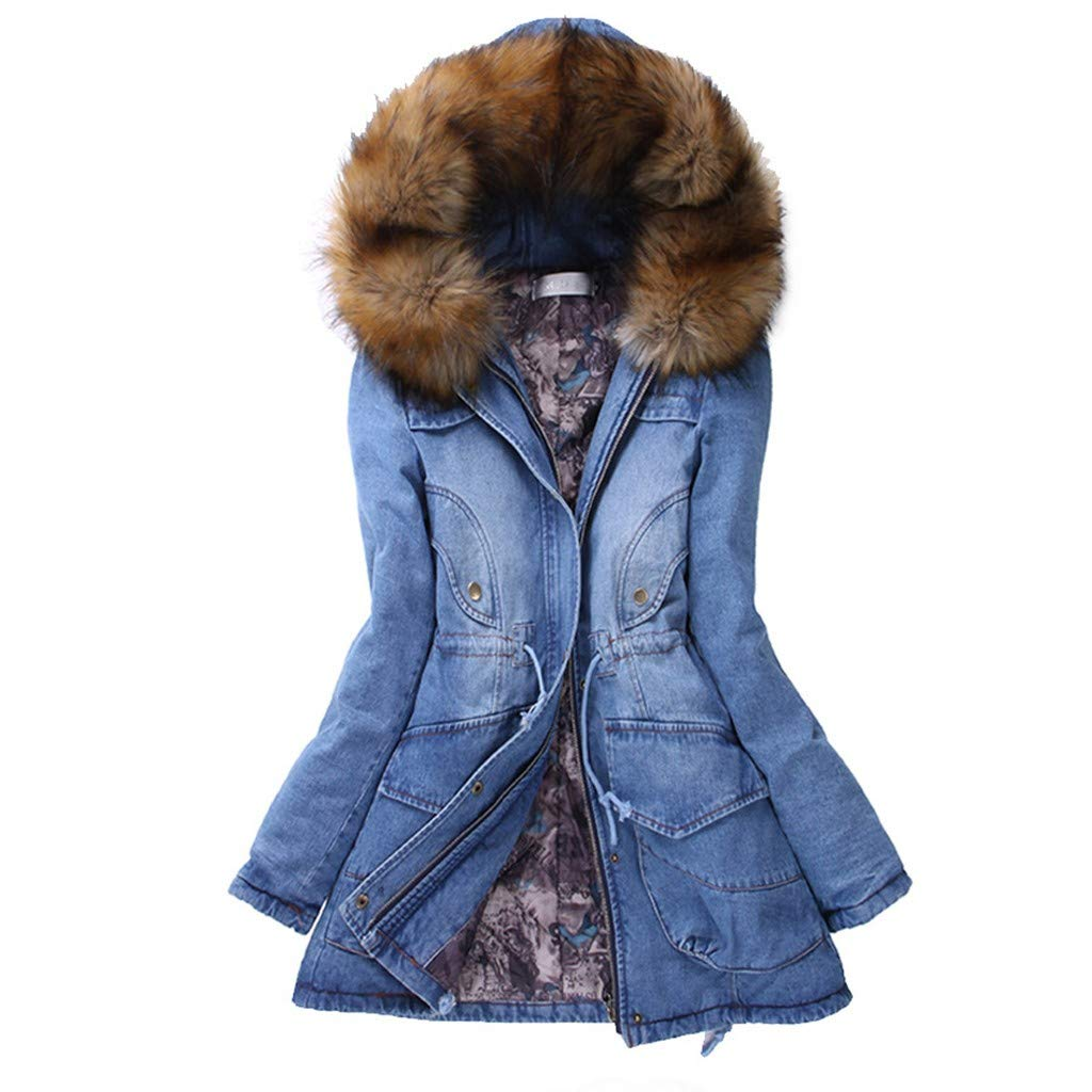Wenini Womens Denim Long Coat Thick Fur Collar Faux Fur Hooded Cotton Lined Jacket Slim Winter Warm Denim Long Coat by Wenini Women Coat