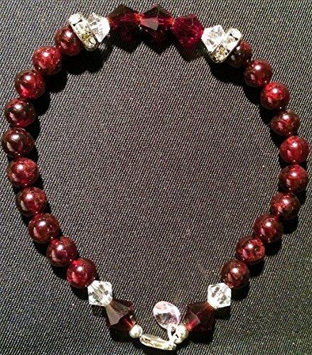(Garnet Smooth Ball Shape 6.0mm Gemstone with Preciosa Garnet 7.0mm BiCone Preciosa Crystal 6.0mm 925 SS (925 Sterling Silver) Bead Bracelet)