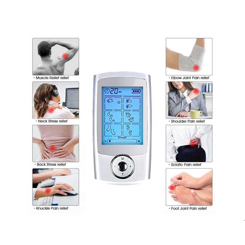 Yimaler Tens Unit Rechargeable Electric Muscle Stimulator with 12 Pads 16 Modes Pulse Impulse Mini Therapy Massager Machine for Pain Relief FDA Approved 2017 Upgrade by Yimaler (Image #8)
