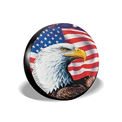 "Jackmen Spare Tire Cover American Eagle Flag Polyester Universal Dust-Proof Waterproof Wheel Covers for Jeep Trailer RV SUV Truck and Many Vehicles (14"" 15"" 16"" 17"") : Clothing"