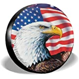 Jackmen Spare Tire Cover American Eagle Flag Polyester Universal Dust-Proof Waterproof Wheel Covers for Trailer RV SUV Truck