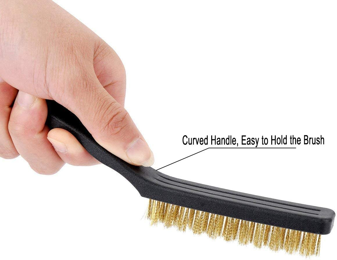 Kesywale 6 Pieces Wire Brush Scratch Brush Set Stainless Steel /& Nylon /& Brass Bristle Wire Brushes for Cleaning Welding Slag Rust and Dust