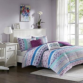 Teen Bedding For Girls Comforter Set Full Queen Twin Purple Blue Turquoise Dorm  Room Bedspread Bundle Part 85