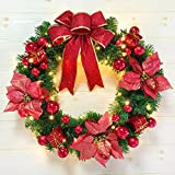 Christmas Garland for Stairs fireplaces Christmas Garland Decoration Xmas Festive Wreath Garland with Christmas Wreath Red Christmas tree Christmas,60cm