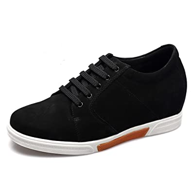 de37b3e97dfd CHAMARIPA Men s 2.95 Inch Black Suede Leather Casual Shoes Make You Look  Taller K70M83-1
