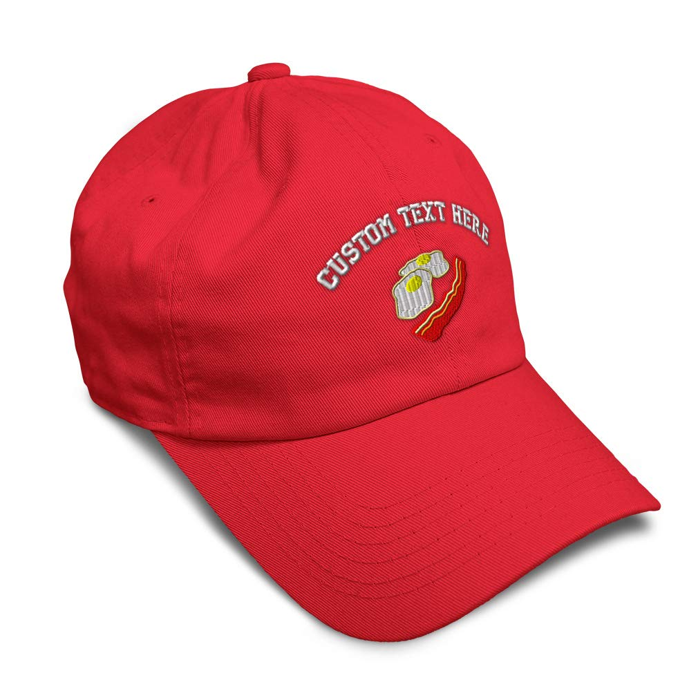 Custom Soft Baseball Cap Eggs and Bacon Embroidery Dad Hats for Men /& Women