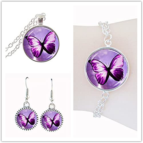 Handmade Purple Spiral Necklace Purple Beaded Jewelry Set