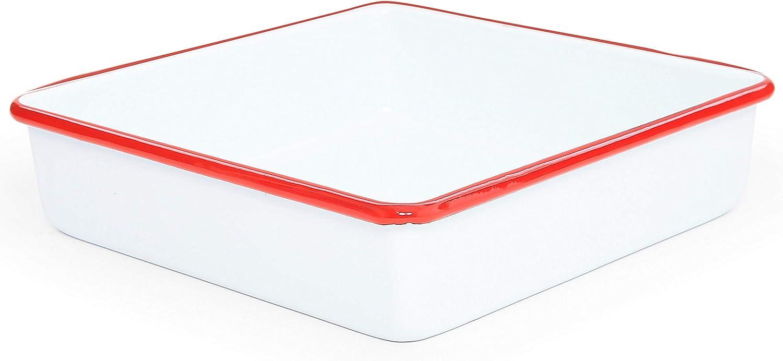 Enamelware Square Brownie Pan, 9 inch, Vintage White/Red