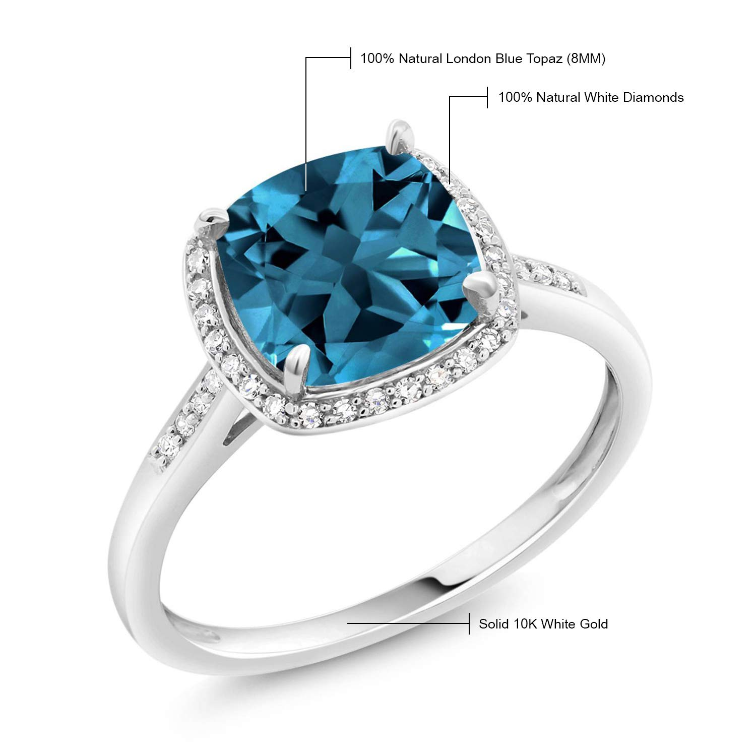 Gem Stone King 10k White Gold London Blue Topaz And Diamond Women S Halo Engagement Ring 2 50 Cttw 8mm Cushion Cut Available 5 6 7 8 9