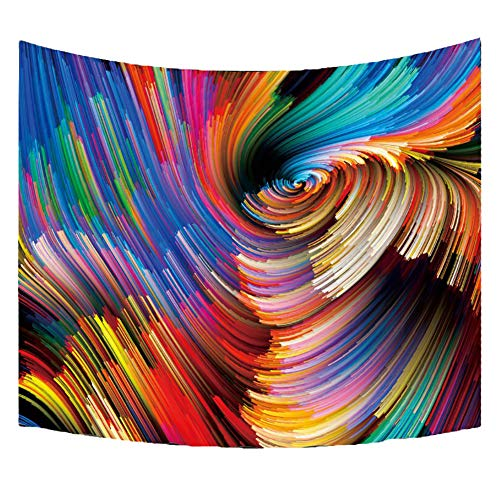 WicLian Tapestry Wall Art Bohemian Mandala Tapestry Wall Hanging Indian Hippie Tapestries (Colored Whirlwind, 50x60inch) ()