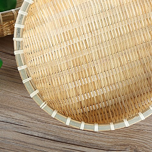 wellhouse Natural Bamboo Straw Woven Round Bread Roll Baskets Food Serving Baskets Fruits Storage Containers Draining Plate Round with Height by wellhouse (Image #2)