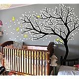 Stickers mural grand Arbre/cerisier en fleur Blanc Sticker Mural pour chambre d'enfant/salon