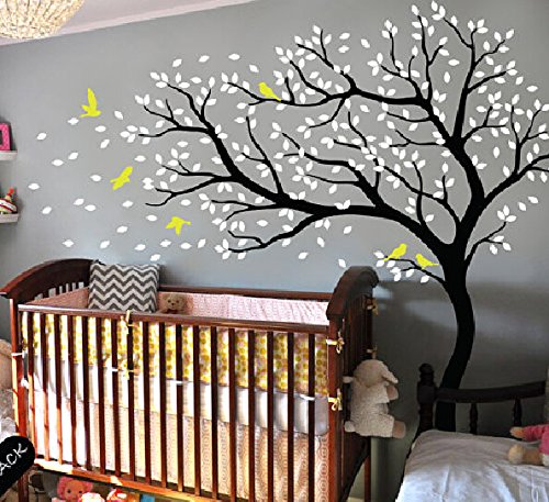 Baby Room Wall Decor Cherry Blossom Tree with Flying Birds Wall Decal Stickers Nursery Wall Decals Vinyl Stickers