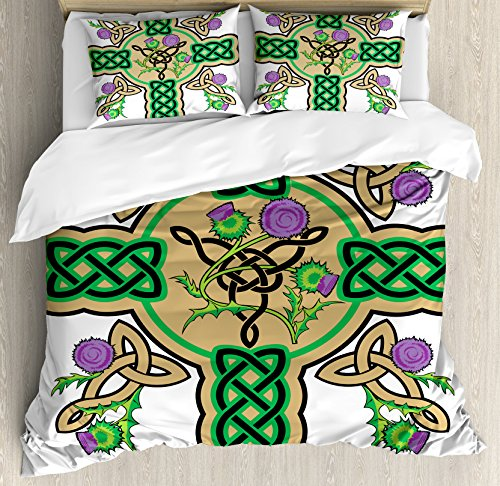 Celtic Duvet Cover Set by Ambesonne, Celtic Knot Design Christian Cross Icon Wreath Flowers Retro Floral Welsh Pattern, 3 Piece Bedding Set with Pillow Shams, Queen / Full, Mustard Green by Ambesonne