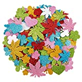 Alphatool 320 Pcs Colorful Glitter Foam Stickers- Self Adhesive Star, Heart, Clover&Flower Shapes Foam Sticker for Children Kids Arts Craft Supplies Greeting Cards Homemade Home Decoration (Mixed)