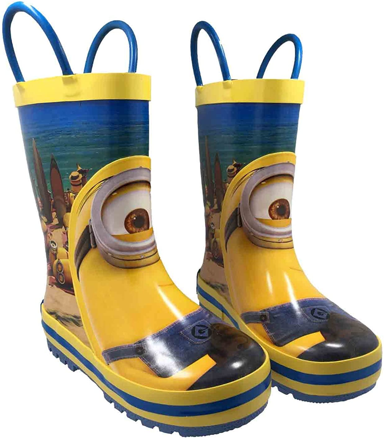 Minions Despicable Me Kids Rubber Character Rain Boots with Easy-On Handles