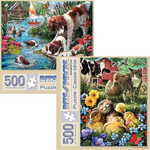 (Bits and Pieces - Value Set of Two (2) 500 Piece Jigsaw Puzzles for Adults - Each Puzzle Measures 18