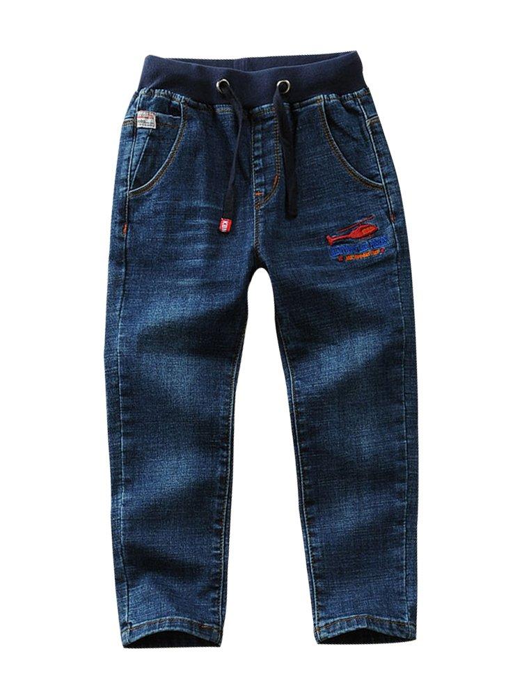 LISUEYNE Baby Boy Summer Spring Casual Blue Jean Long Holey Ripped Jeans Elastic Band Denim Long Jeans for Boys