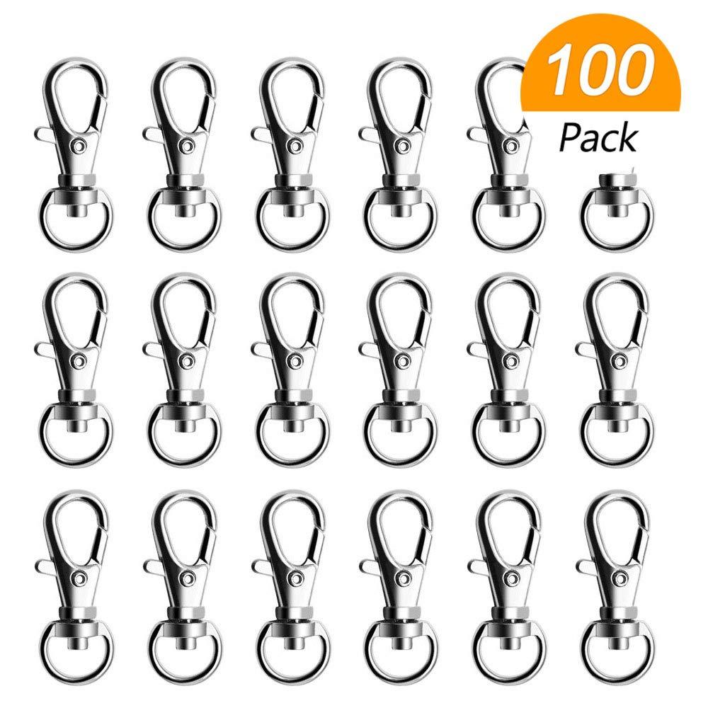Hysagtek Lot de 100 mousquetons pivotants avec fermoir mousqueton pour lani/ère Clips crochets porte-cl/és pour loisirs cr/éatifs Fabrication de bijoux