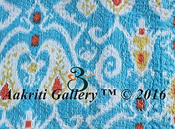 100 /% coton Kantha Ikat Imprim/é 100/% Coton Couvre-lit imprim/é Couette Couvre-lit indien fait /à la main Lit turquoise Double with 2 cushion cover
