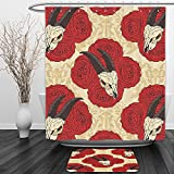 Vipsung Shower Curtain And Ground MatGothic Decor Collection Goat Skull on Red Roses Horn Pattern Animal Bone Traditional Symbol Art Print Ivory BeigeShower Curtain Set with Bath Mats Rugs