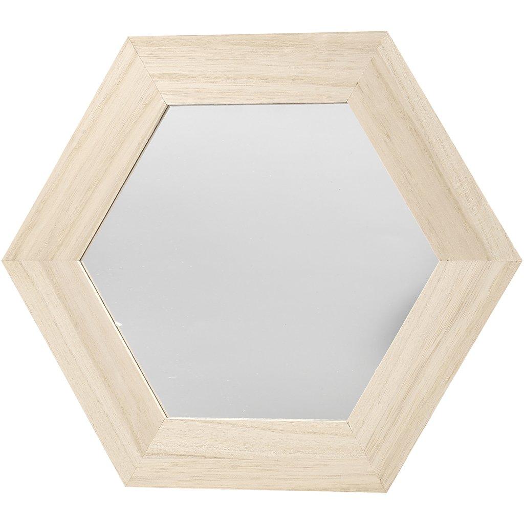 26x26 cm paulownia dim hexagonal la taille du trou: 18x18 cm Miroir 1pi/èce