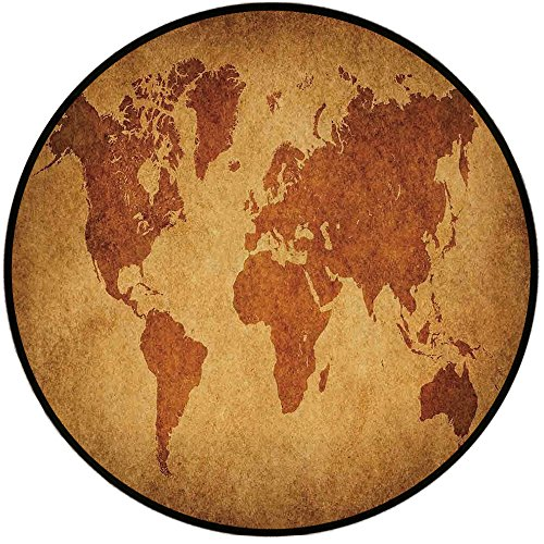 Printing Round Rug,Wanderlust Decor,Vintage World Map Retro Background Antique Historic Earth Chart Ancient Boho Deco Mat Non-Slip Soft Entrance Mat Door Floor Rug Area Rug For Chair Living Room,Orang ()