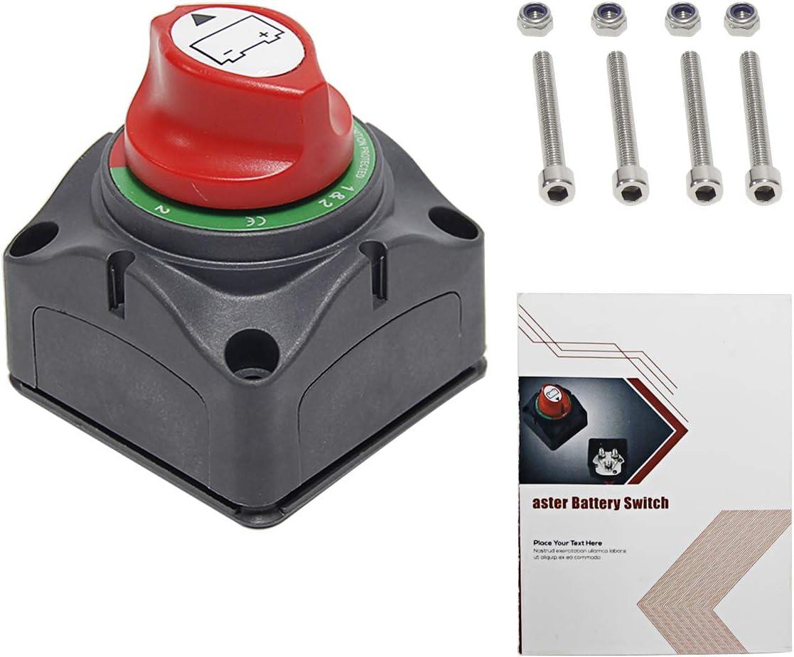 200//1000 Amp 1, 1 y 2, 2 OFF DC12-24V 3 troqueles Wisamic Interruptor aislador de bater/ía dual 200//1000 Amp