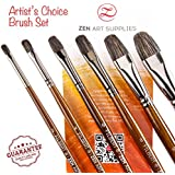 Professional Artist Filbert Brushes for Oil & Heavy-body Acrylics - Long-lasting Natural Badger & Synthetic Blend - Lacquered Birchwood Long Handles - 6-pcs Set, Artist's Choice Collection by ZenArt