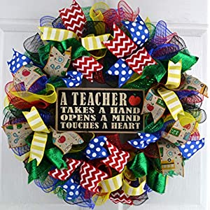Teacher Gift | Classroom Front Door Decor Gift Present Outdoor Mesh Wreath; Red Blue Green Yellow Black 103