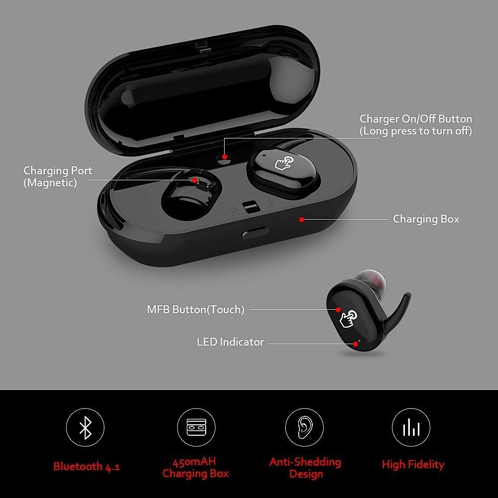Supkiir True Wireless Headphones Bluetooth Headphones Waterproof Earbuds with Portable Charger Built-in Mic