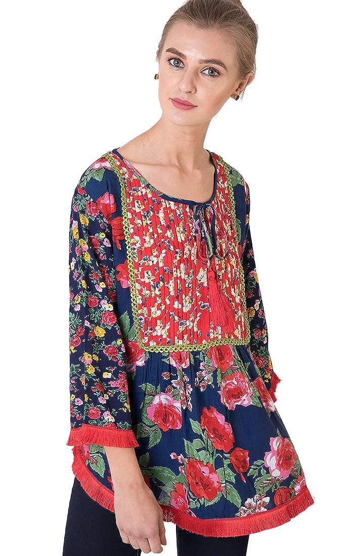Women's 70s Shirts, Blouses, Hippie Tops Indigo Paisley Adele Full Sleeve Floral Printed Top | Handmade Tassels Trim | $19.99 AT vintagedancer.com