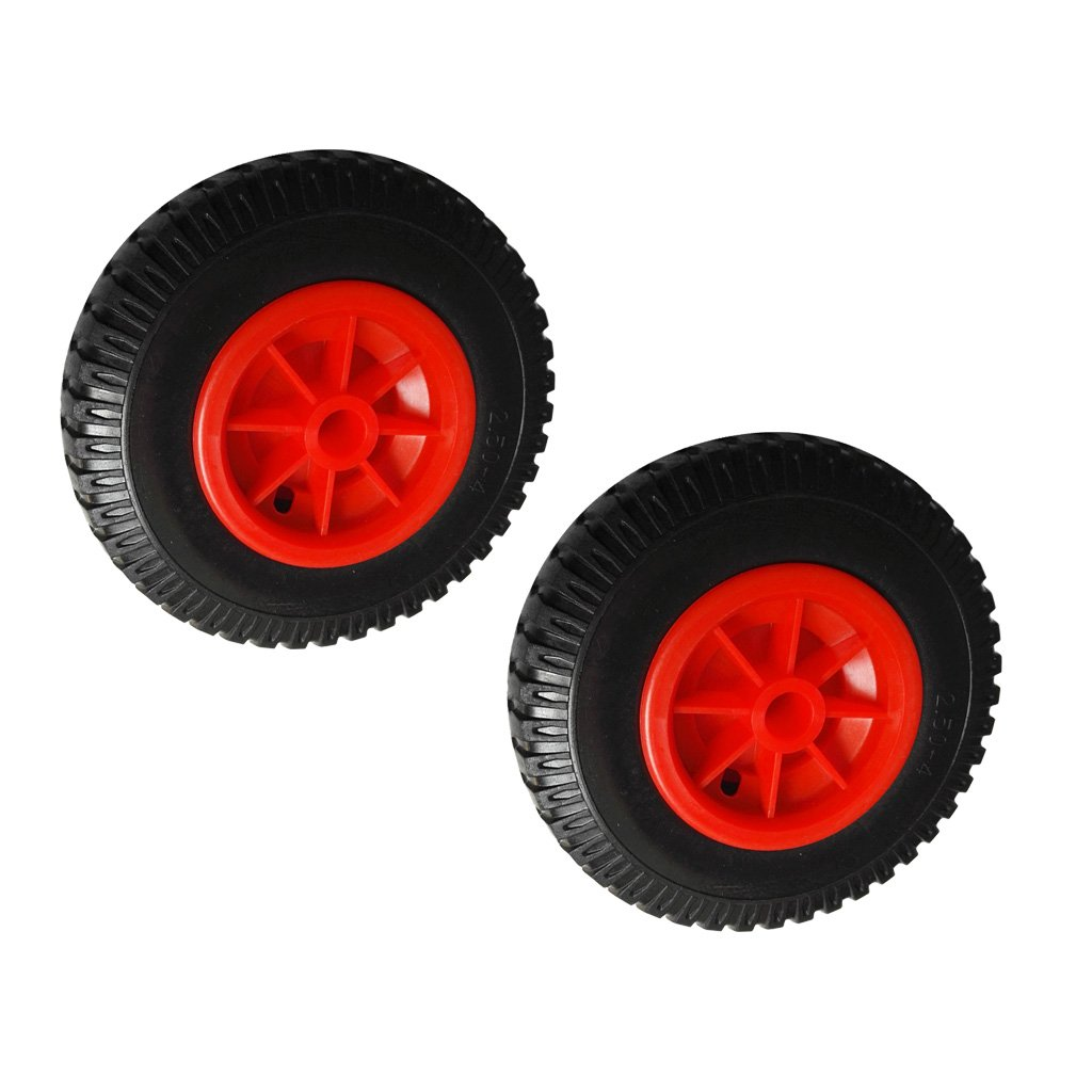 Fenteer 1 Pair of 8 0.76 Durable Puncture Proof Rubber Tire on Red Wheel for Kayak Trolley Cart Boat Trailer