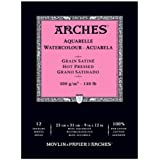 "Arches Watercolor Pad, Hot Press 9""X12"", 400014953, White, 9""X12"""