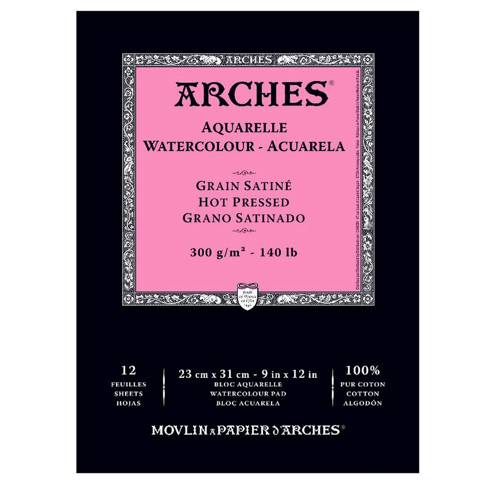 Arches Watercolor Pad, Hot Press 9''X12'', by Arches