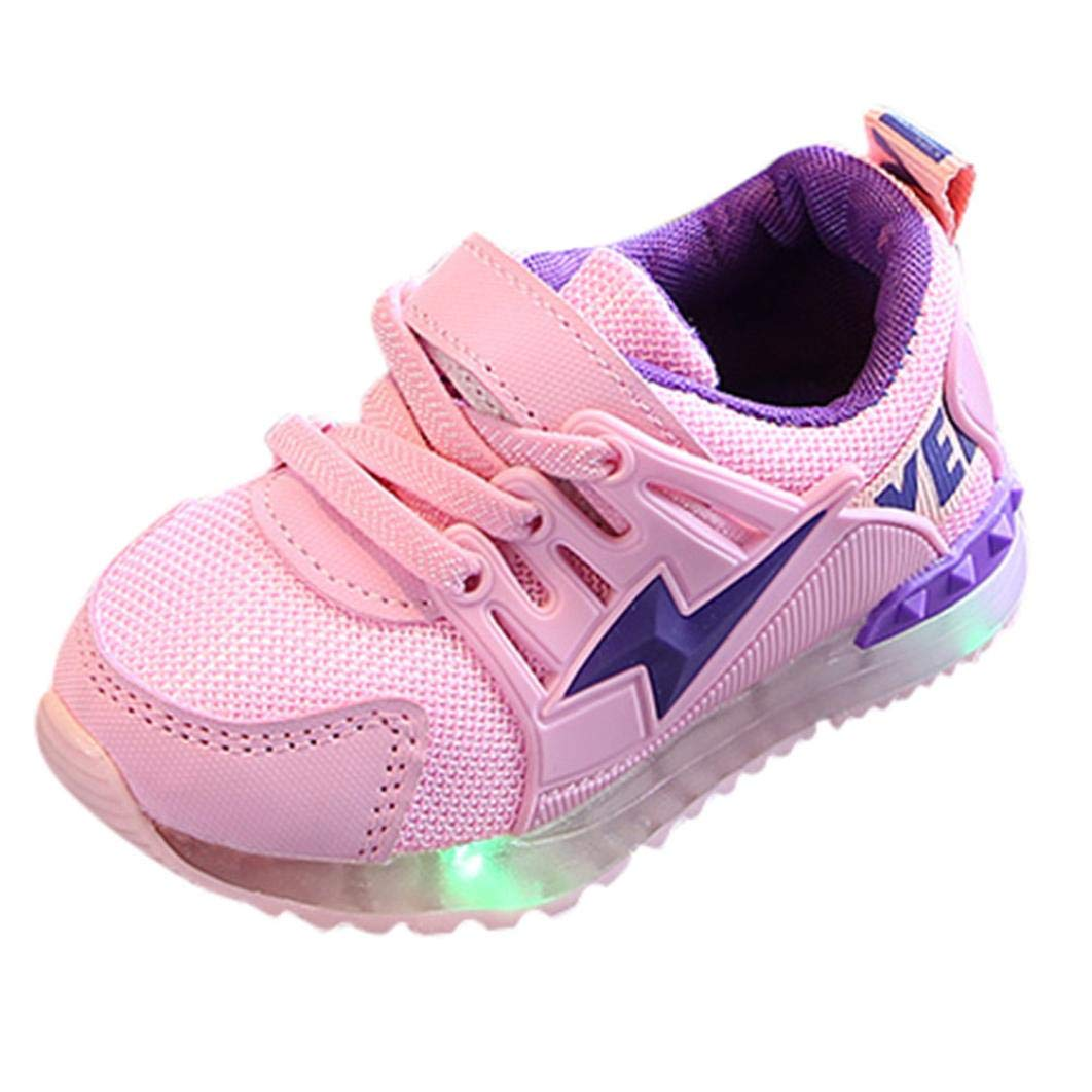 Kintaz Toddler Baby Boys Girls LED Light up Mesh Light Weight Breathable Sports Running Sneakers Shoes