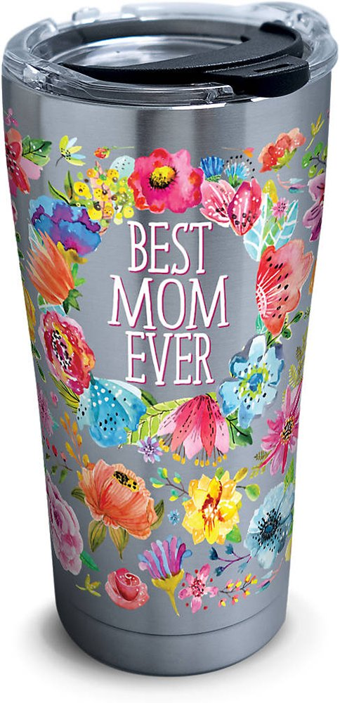 Tervis 1286449 Best Mom Ever Floral Stainless Steel Tumbler with Clear and Black Hammer Lid 20oz, Silver