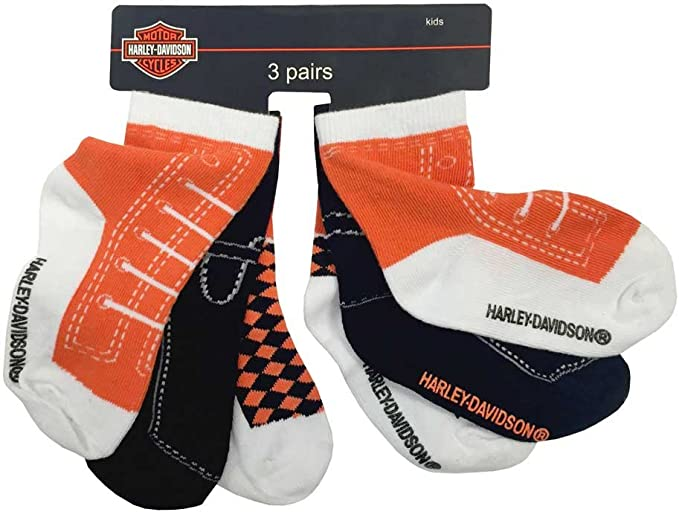 Three Pack Harley-Davidson Baby Boys Socks Orange//Black//White S9ABI63HD