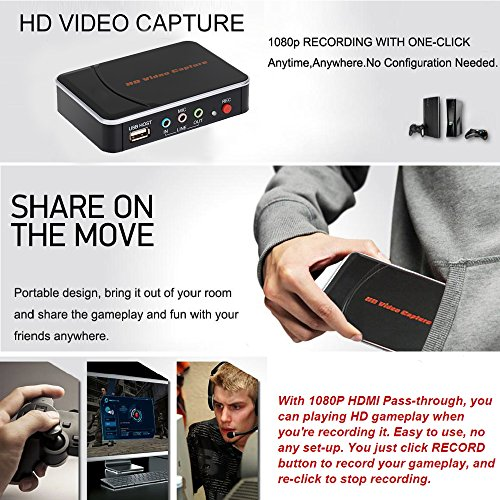 hd video game capture 1080p hdmi ypbpr one click recorder