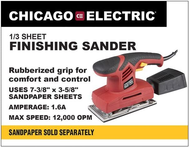 Chicago Electric Power Tools 1 3 Sheet Finishing Sander