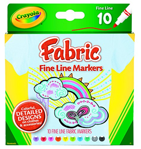 Crayola Fabric Line Markers, Fine Tip, Assorted Colors, Set of 10 -