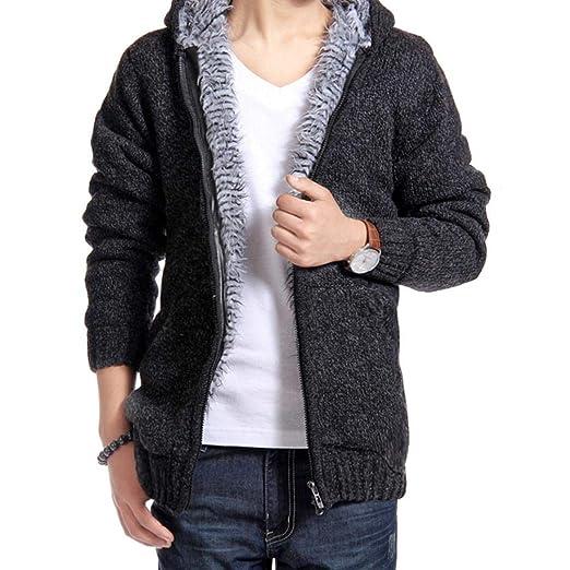 0b47092bb9cf7 dalina Men Coat Casual Hooded Long Sleeve Faux Fur Zip Coat Jacket ...