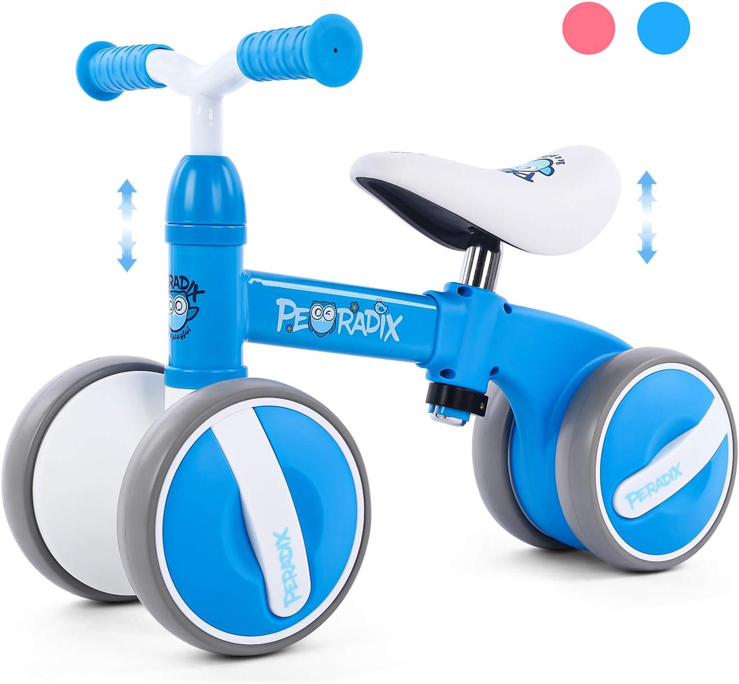 Peradix Bicicleta Sin Pedales para Niños y Niñas,Bici Sin Pedales de Manillar y Sillín Ajustables para Niño 1-3 Año Juguetes Equilibrio Triciclos Bebes,Correpasillos Bebe 1 año