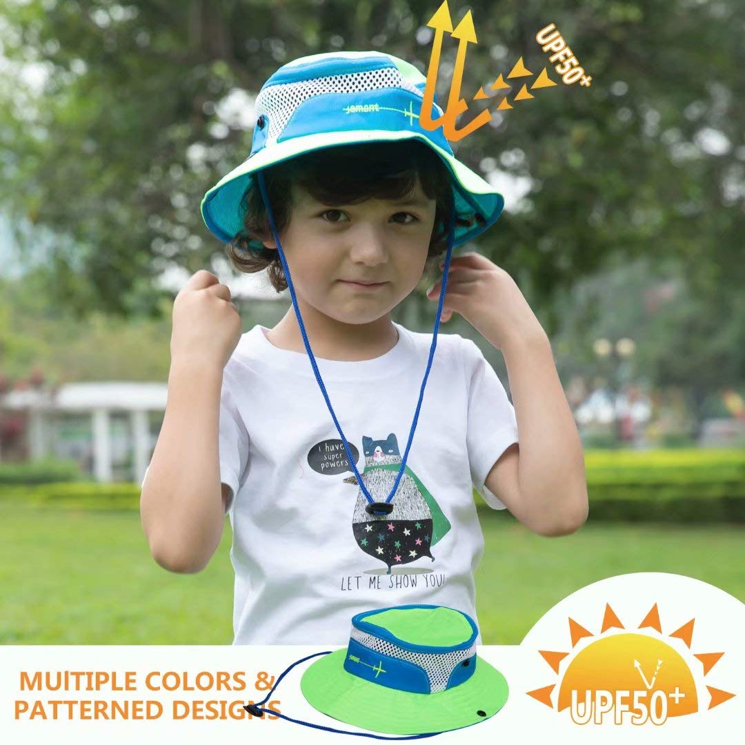 Adjustable Baby Sun Hat Toddler Sun Hat Kids Breathable Bucket Sun Protection Hat Stay-on Chin-Strap Summer Play