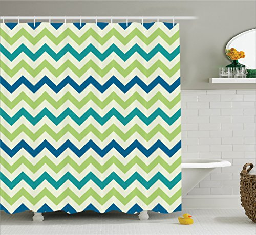 Ambesonne Chevron Decor Collection, Vintage Popular Zig Zag Chevron Pattern Classics Decorative Stripe Artful Image, Polyester Fabric Bathroom Shower Curtain, 84 Inches Extra Long, Green Teal White (Curtains Chevron Pattern)