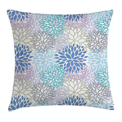 "Ambesonne Dahlia Flower Throw Pillow Cushion Cover, Scribble Pattern of Mix of Victorian Grace Daisy Design Art, Decorative Square Accent Pillow Case, 20"" X 20"", Lilac Blue"