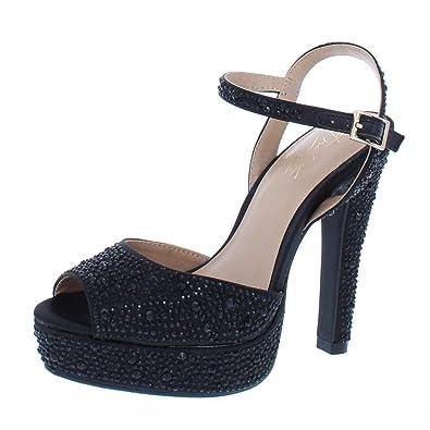 5852622d47d Thalia Sodi Womens Bridget Satin Platform Dress Sandals Black 5.5 Medium  (B